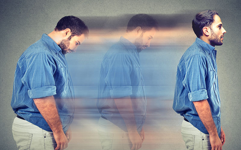 photo d'un homme montrant 3 phases de sa perte de poids