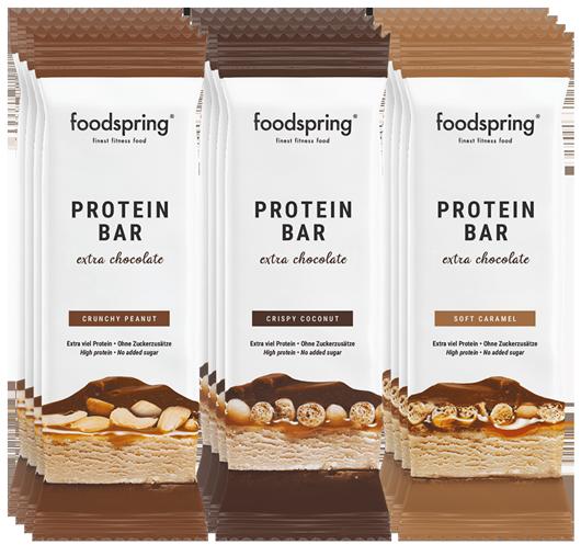 Protein Bar Extra Chocolate Pack de 12 mix Une véritable barre chocolatée avec 90 % de sucre en moins.