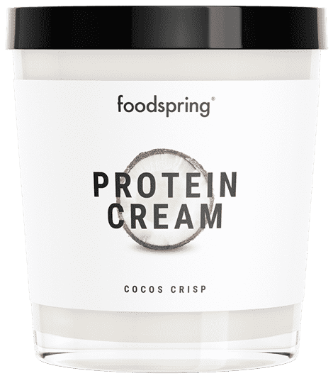 Protein Cream Coconut Crisp Chocolate spread with 85% less sugar.