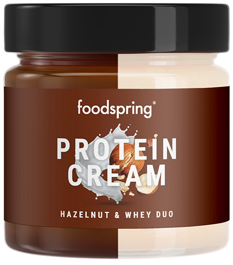 Protein Cream Duo Hazelnut & whey spread with 85% less sugar*