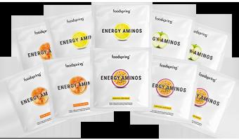 Energy Aminos 10er Probierpaket Pre-Workout Getränk, das dich aufs nächste Level bringt.