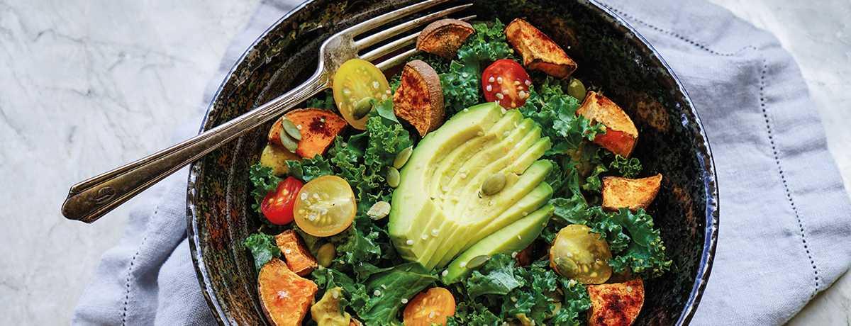 Salade de mâche aux patates douces poêlées