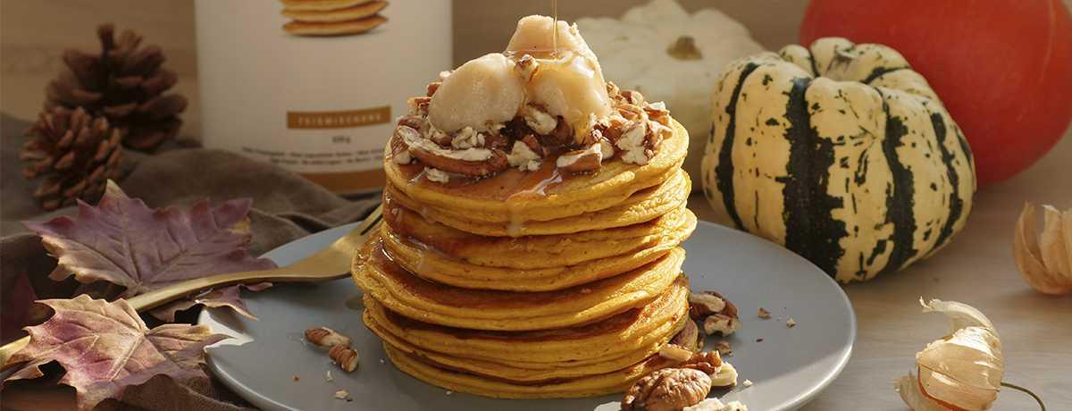 Pancakes au potiron et glace à la vanille