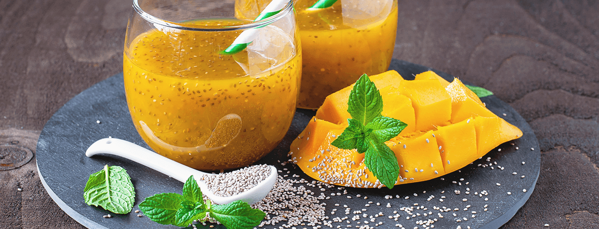 Chia, coconut and mango drink