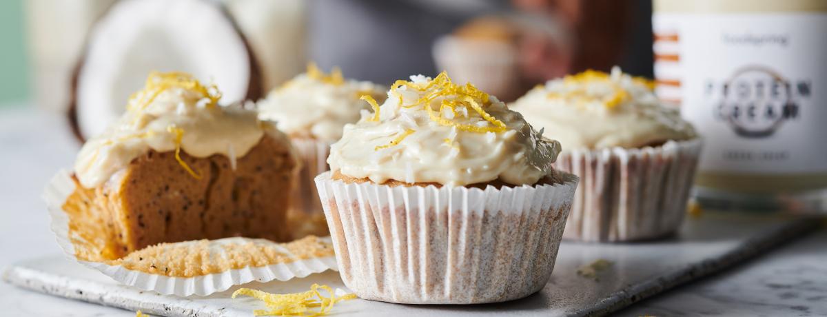 Zitrone-Kokos Protein Cupcakes