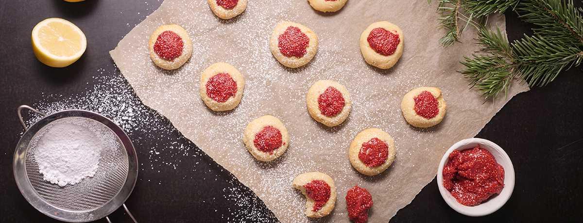 Petits gâteaux à la confiture de fraise et chia