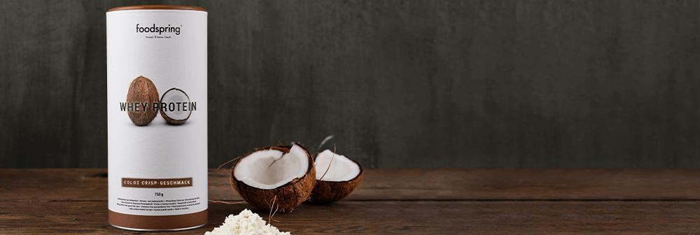 Whey Protein Cocos Crisp auf Tisch