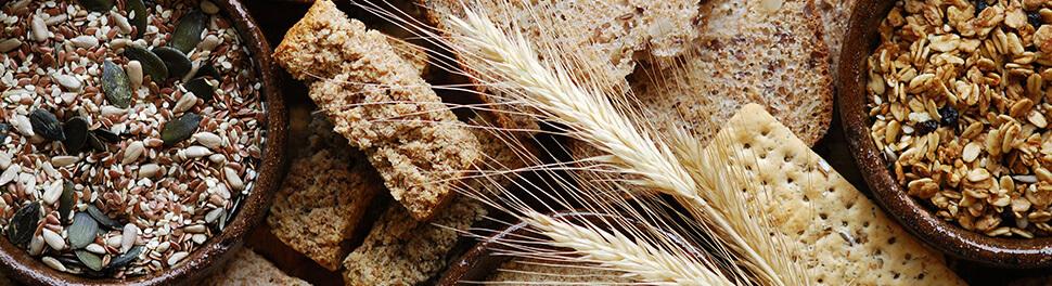 Spiga di grano, pane e fiocchi di avena