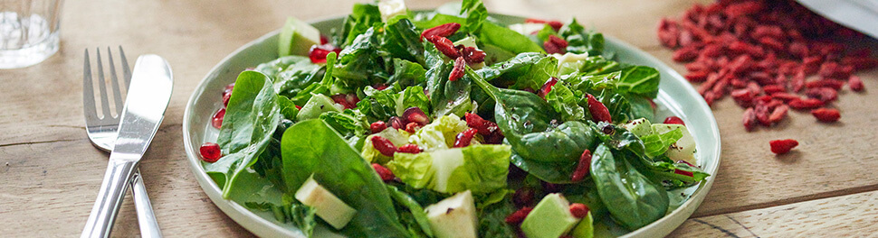 Frischer Salat mir Goji Beeren Topping