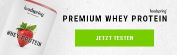 Premium Whey Protein Banner mit Dose