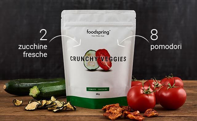 Confezione di Crunchy Fruits foodspring davanti a zucchini e pomodori