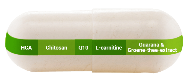 Grote capsule met beschrijving van de ingrediënten van de shape caps van foodspring
