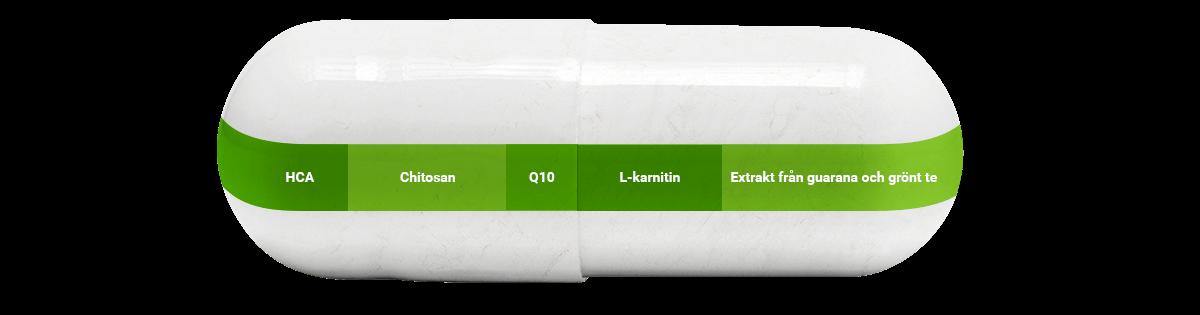 Stora kapslar med innehållsförteckning för Shape Caps från foodspring