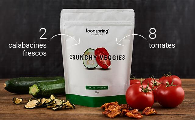Envase de Crunchy Fruits foodspring junto a calabacines y tomates