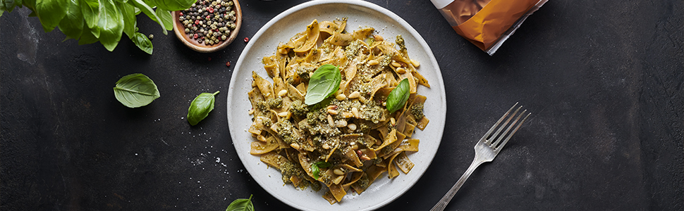 Protein pasta with basil pesto