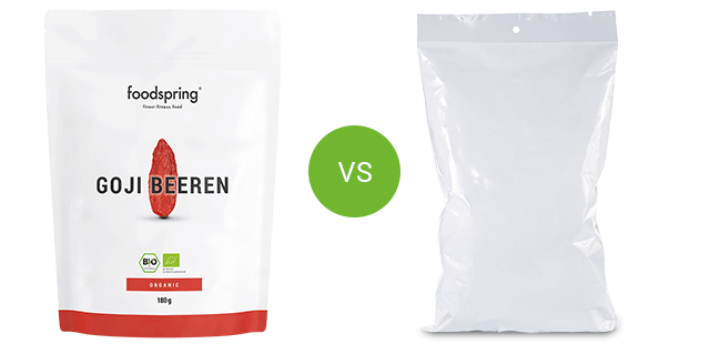 foodspring organic goji berries vs. competitor product