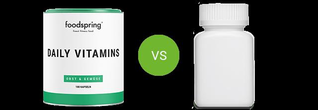 Les Daily Vitamins de foodspring comparées aux produits concurrents