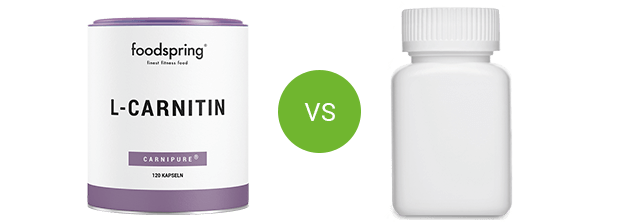 foodspring L-carnitine in vergelijking met concurrerende producten