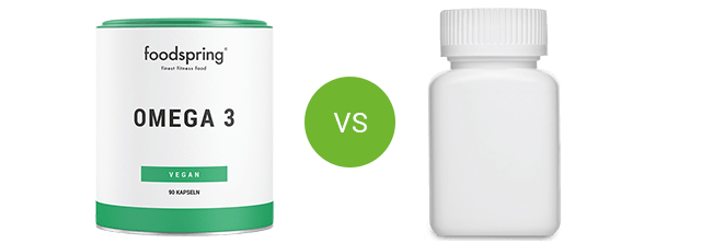 foodspring Omega-3 jämfört med konkurrerande produkter