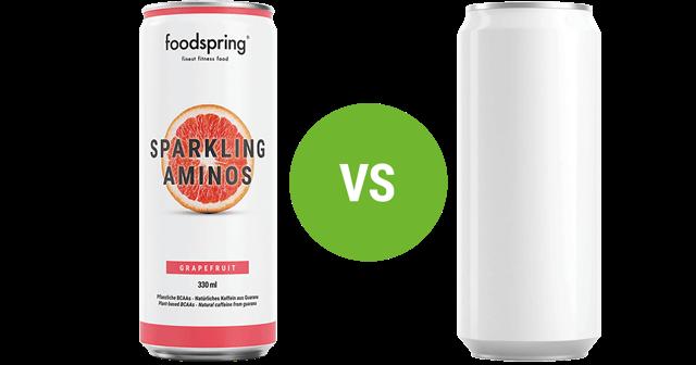 foodspring Sparkling Aminos vs. herkömmliche Energydrinks