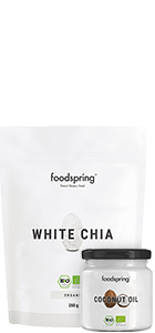 Białe nasiona chia i olej kokosowy