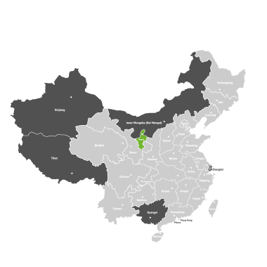 Map of China with Ningxia marked