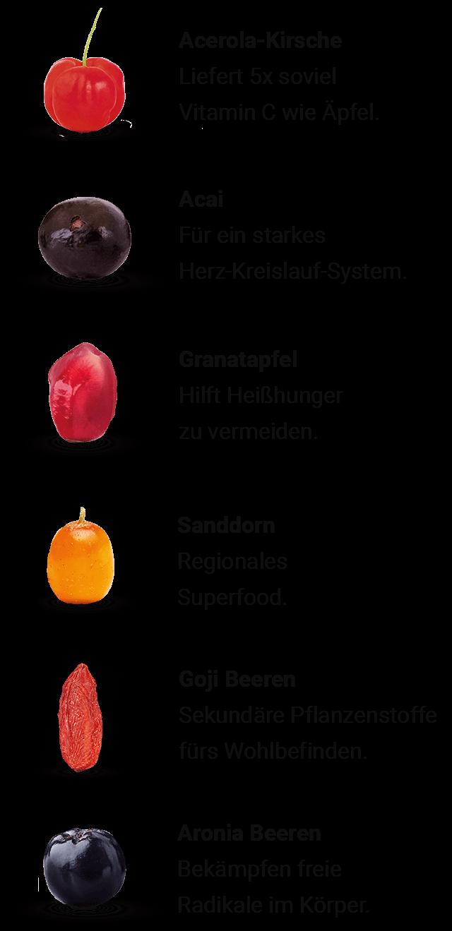 Acerola, Acai, Granatapfel, Sanddorn, Goji Beeren und Aronia