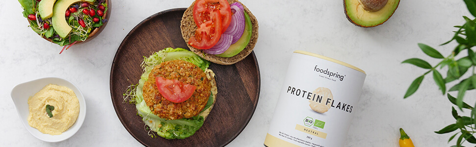 Protein Veggie Burger med Protein Flakes.